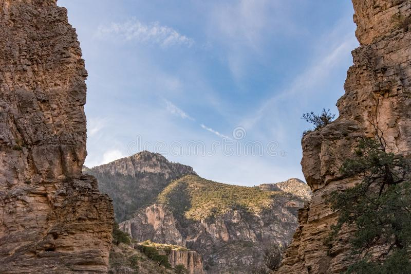 Mountains through the cliffs at Guadalupe Mountains stock photo