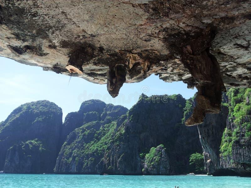 Mountains and cliffs, stalactites stock photos