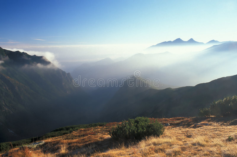 Mountains with cloud. High Tatra Mountains in autumn, Poland royalty free stock photography