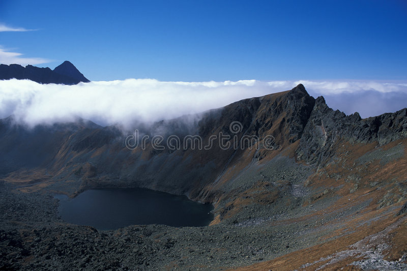Mountains with cloud. High Tatra Mountains in autumn, Poland stock image