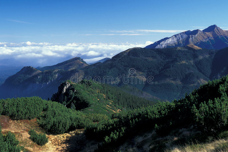 Mountains with cloud. High Tatra Mountains in autumn, Poland stock photos