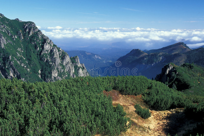 Mountains with cloud. High Tatra Mountains in autumn, Poland stock images