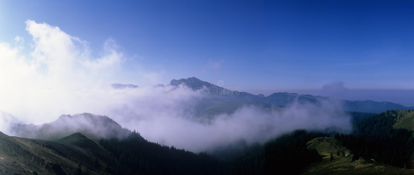 Mountains with cloud. Ciucas Mountains, Eastern Carpathians, Romania royalty free stock image