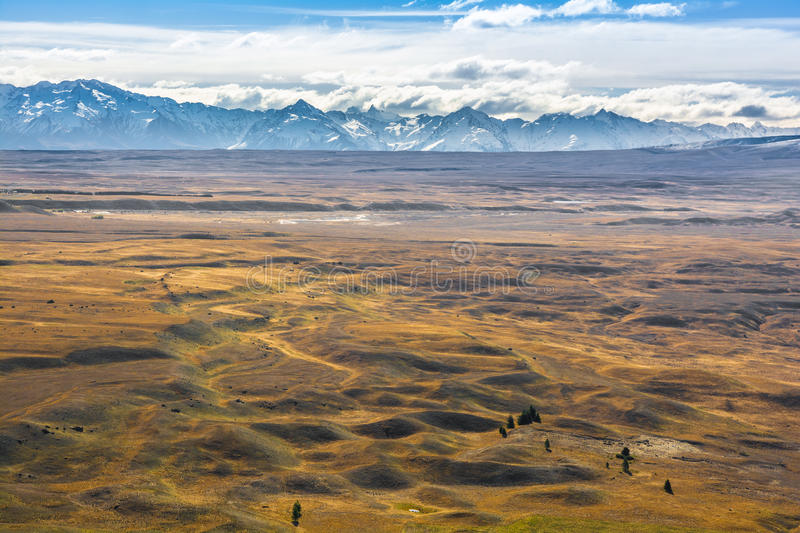 Mountains, clouds and wild plains, New Zealand royalty free stock photos