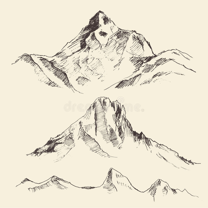 Mountains Contours Engraving Vector Hand Draw. Mountains contours of the mountains engraving vector illustration hand drawn sketch vector illustration