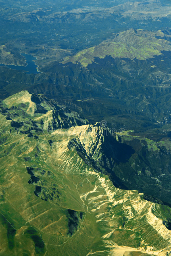 Mountains in Corsica. Aerial view of green mountains in Corsica Island stock photography