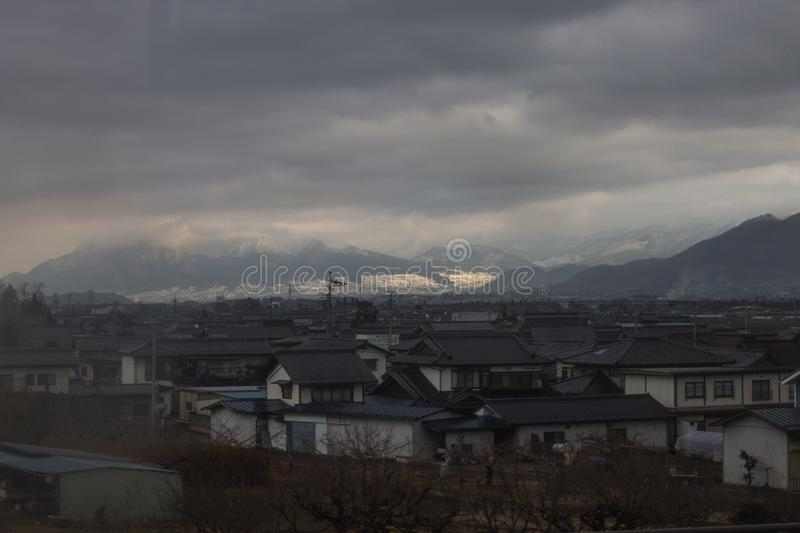 The Mountains covered in snow around Yudanaka, Japan.  stock images