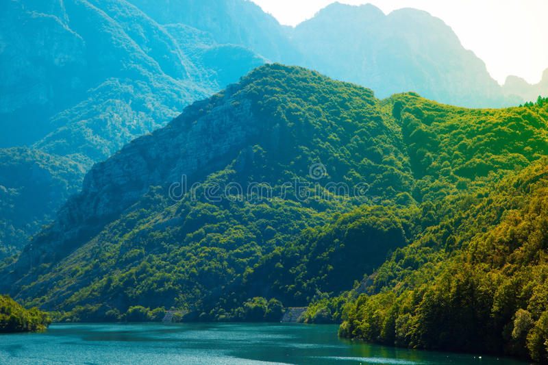 Mountains covered with treet neat the river. At daytime stock photo