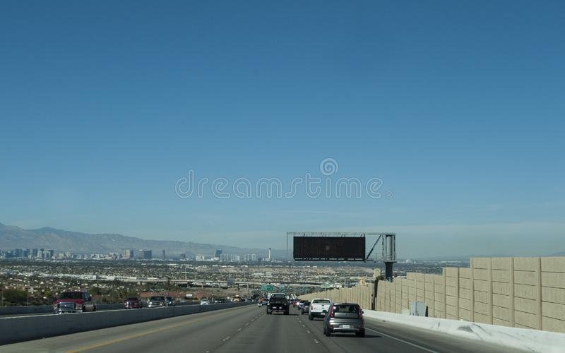 View of Las Vegas from the Highway, daytime royalty free stock photo