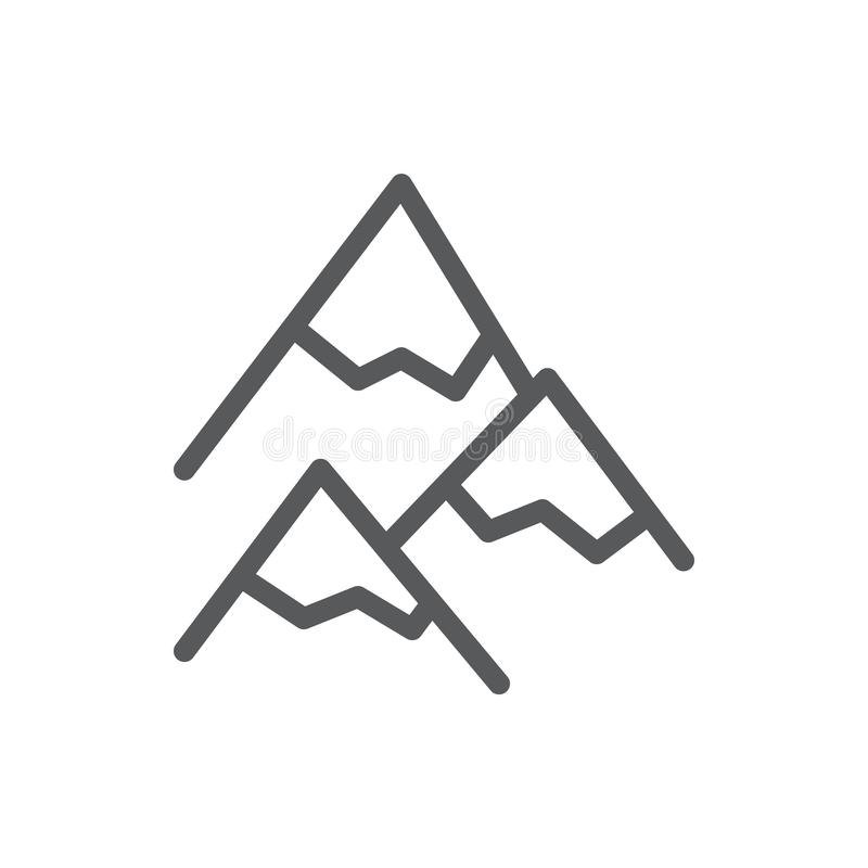 Mountains editable icon vector illustration - thin line symbol of peaks covered with snow and ice. Mountains editable icon vector illustration - thin line royalty free illustration