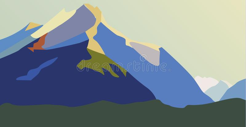 Mountains with falling snow royalty free illustration