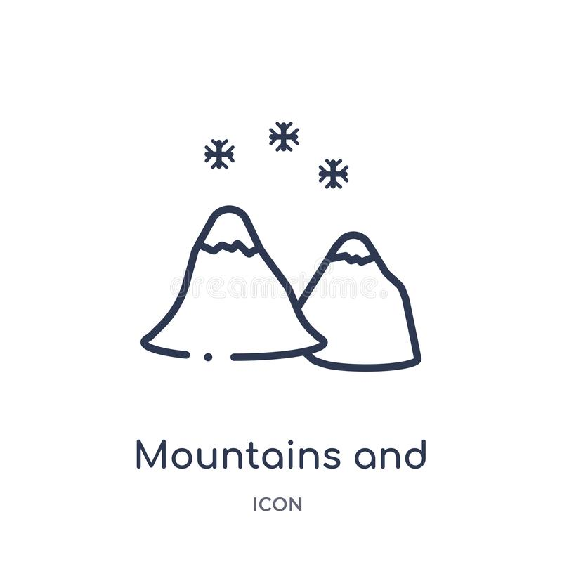 mountains and falling snowflakes icon from nature outline collection. Thin line mountains and falling snowflakes icon isolated on vector illustration