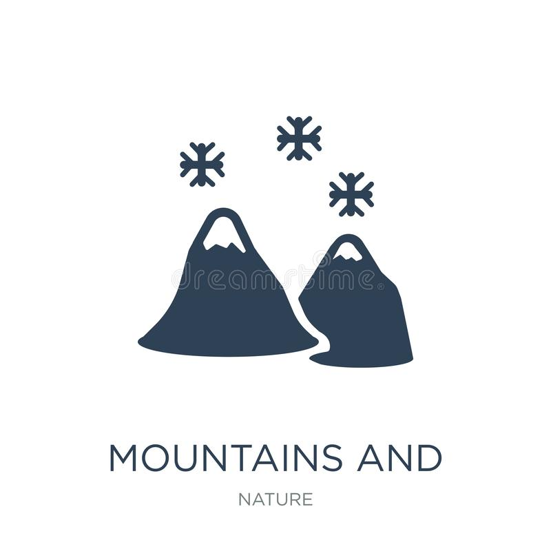 mountains and falling snowflakes icon in trendy design style. mountains and falling snowflakes icon isolated on white background. stock illustration
