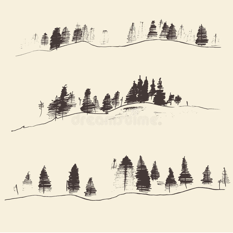 Mountains With Fir Forest Contours Engraving. Mountains with fir forest contours of the mountains engraving vector illustration hand drawn sketch stock illustration