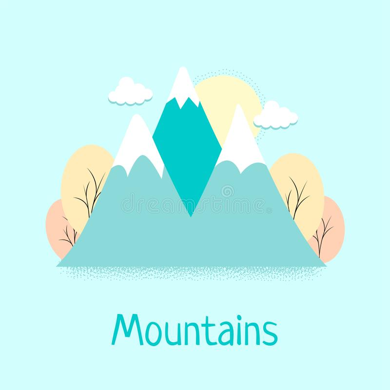 Mountains flat style landscape for poster, banner, logo, post card, printing, background design. Autumn landscape with clouds and royalty free illustration