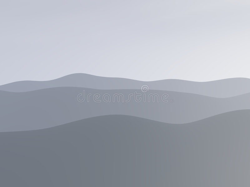 Mountains in the fog stock illustration