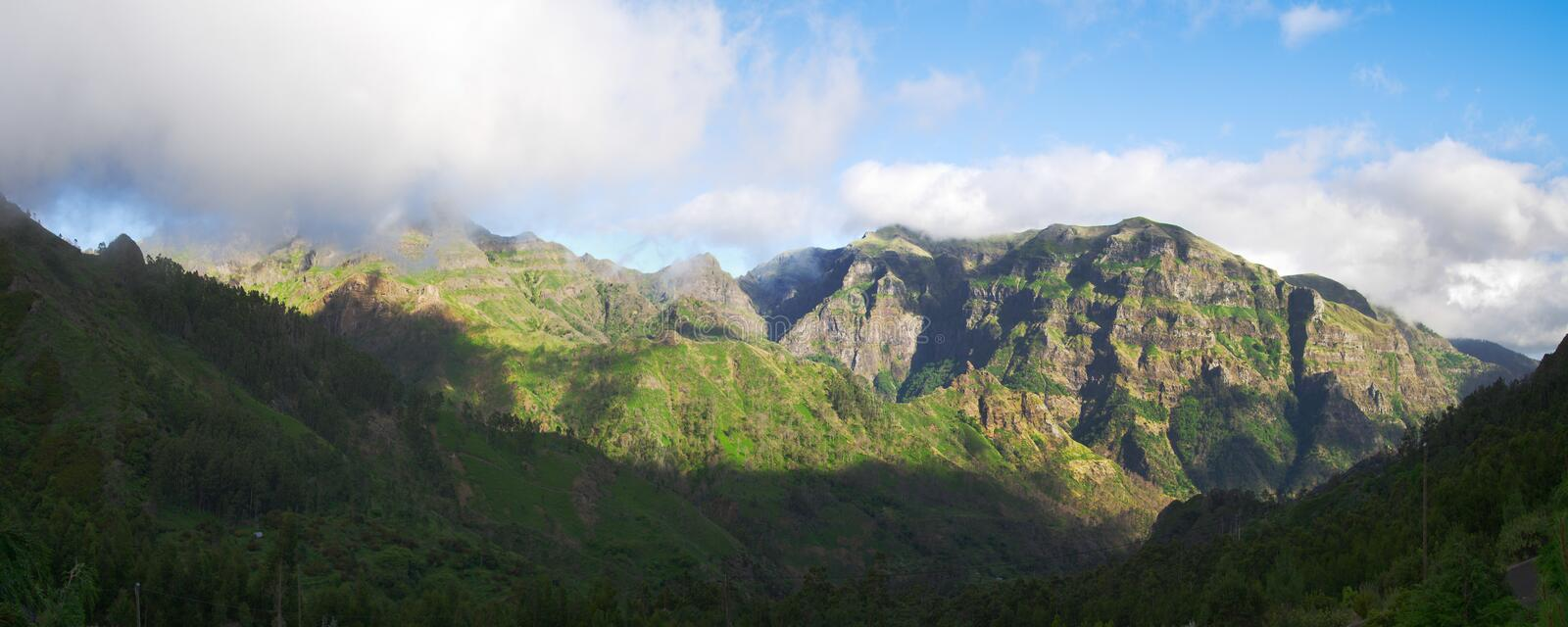 Mountains and fog in central Madeira island royalty free stock image