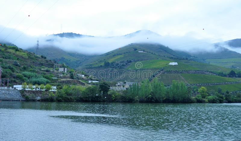 The mountains and the fog- Douro river royalty free stock image