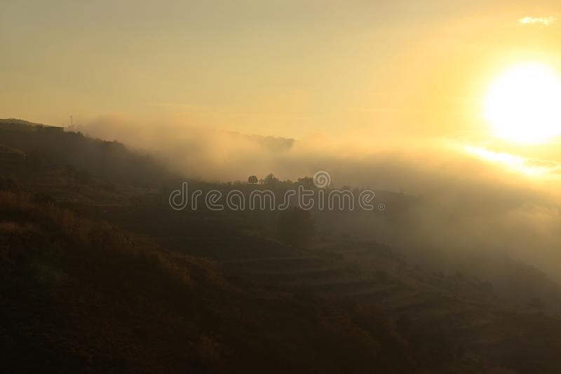 Mountains and Foggy Sunlight royalty free stock image