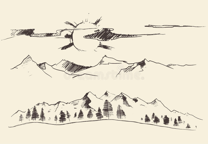 Mountains Forest Contours Engraving Vector. Mountains contours of the mountains engraving vector illustration hand drawn sketch vector illustration