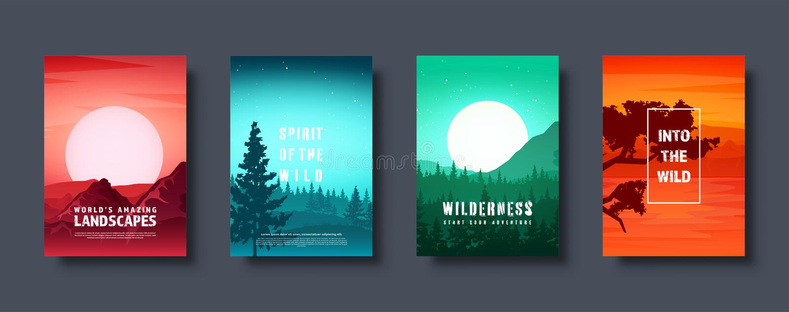 Mountains and forest. Wild nature landscape. Travel and adventure.Panorama. Into the woods. Horizon line.Trees,fog stock illustration