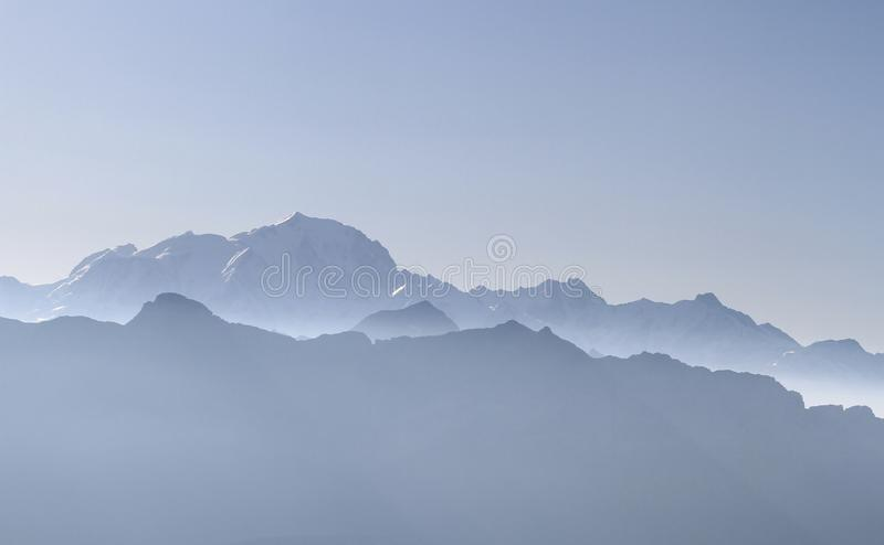 Mountains french alps with Mont-Blanc, Chamonix royalty free stock photography