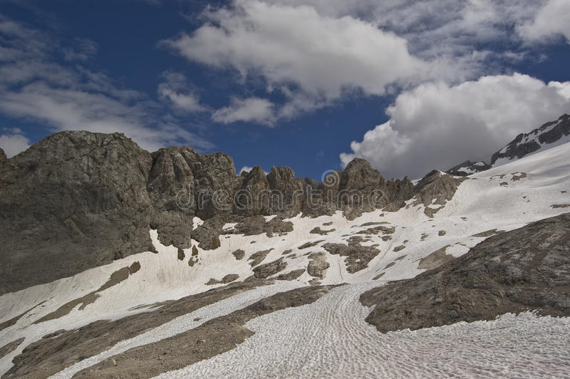 Mountains and glacers. Glacers on the dolomites chain, alps, italy royalty free stock photo