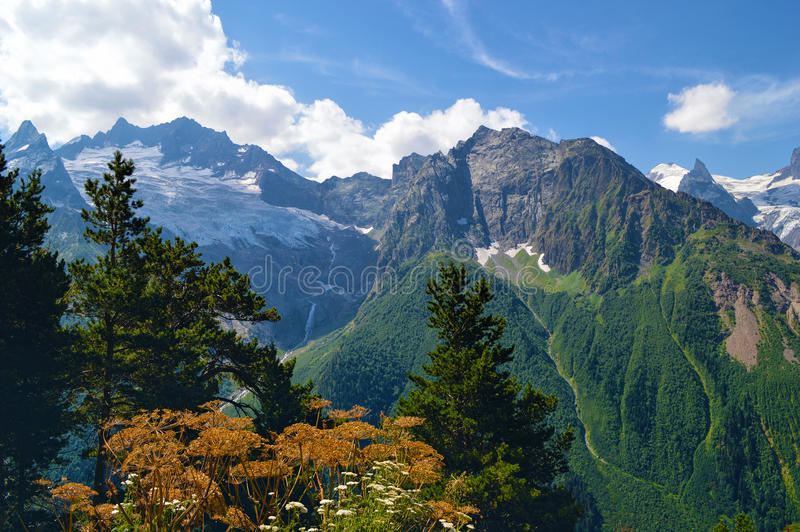 Mountains and glaciers in Dombay, Western Caucasus, Russia royalty free stock photos