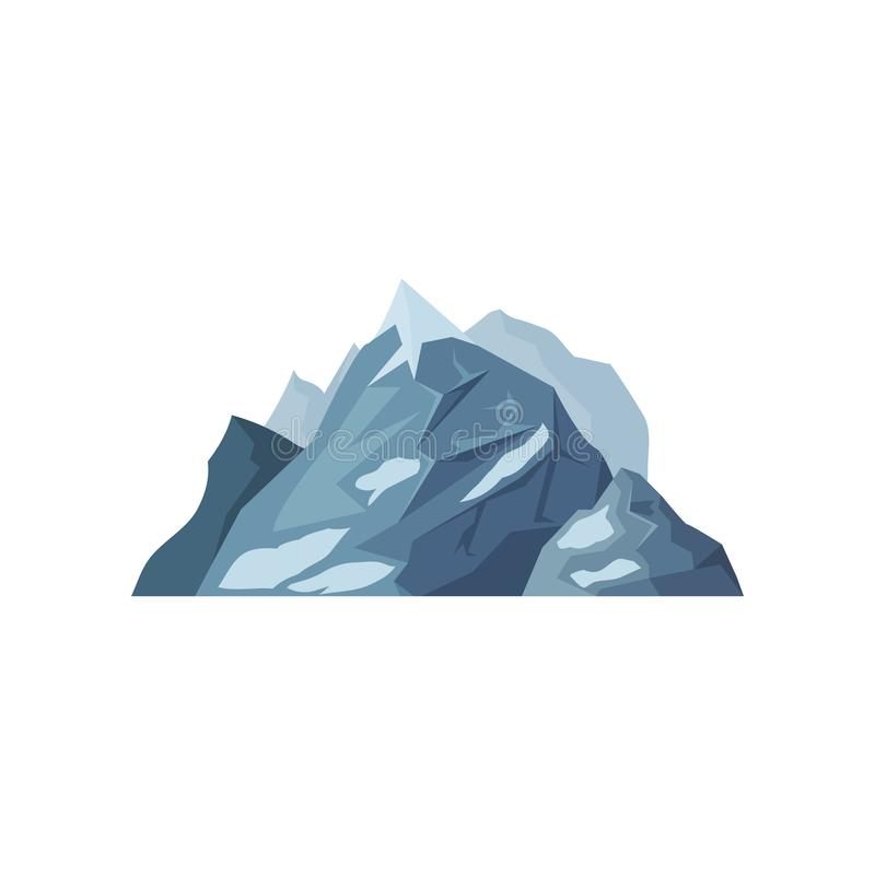 Mountains with glaciers, outdoor design element, nature landscape, mountainous geology vector Illustration. On a white background stock illustration