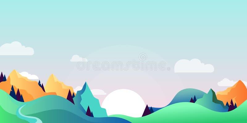 Mountains and green hills landscape, horizontal nature background. Vector cartoon illustration of summer, spring morning vector illustration