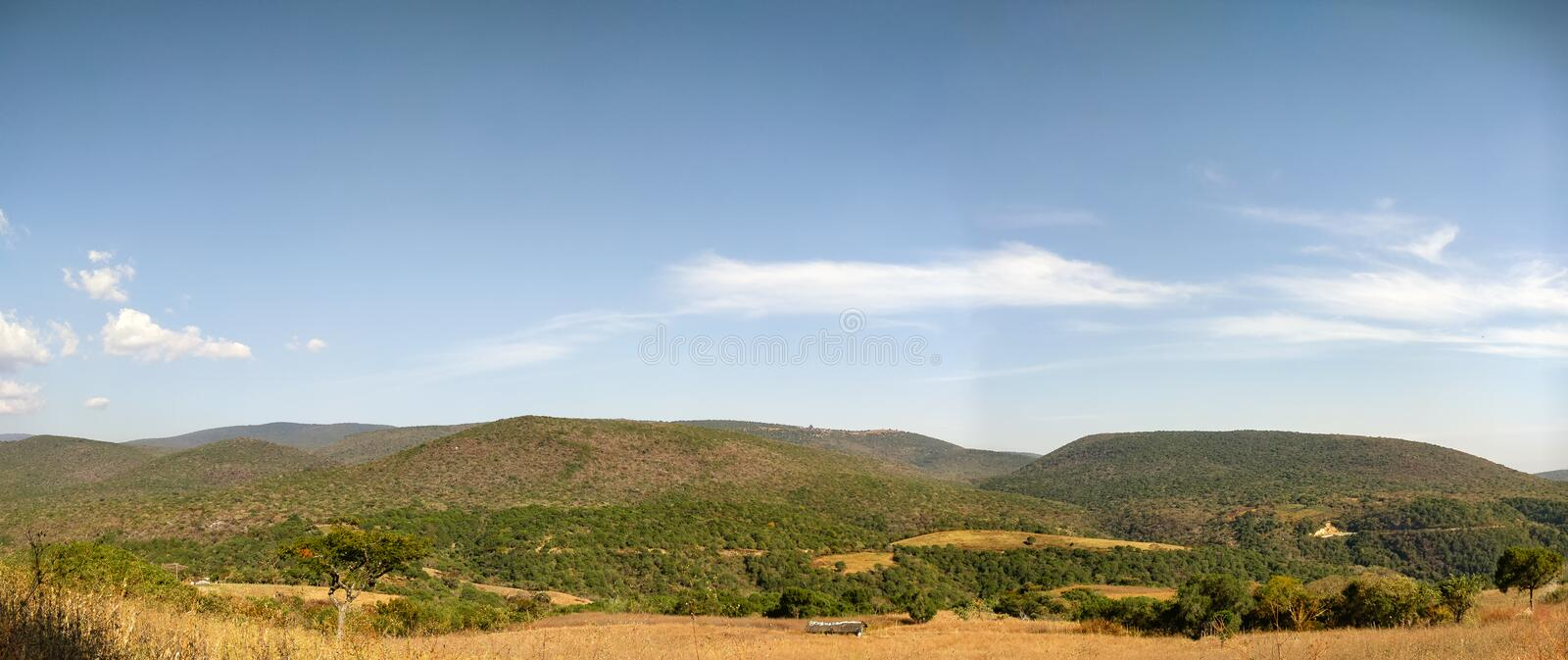 Mountains in Guerrero. Sierra Madre del Sur on a bright sunny afternoon. Travel in Mexico. Panorama stock photography