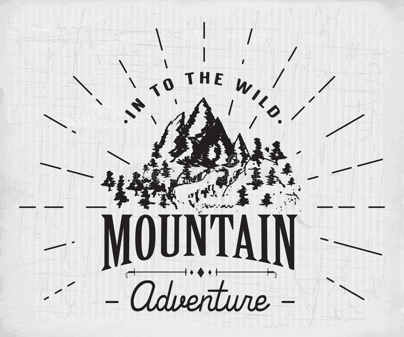 Mountains Handdrawn Sketch Emblem Outdoor Camping And Hiking