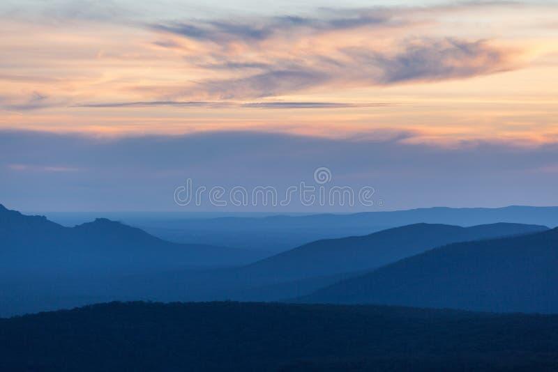 Mountains and Hills at Grampians National park at sunset.  stock photo