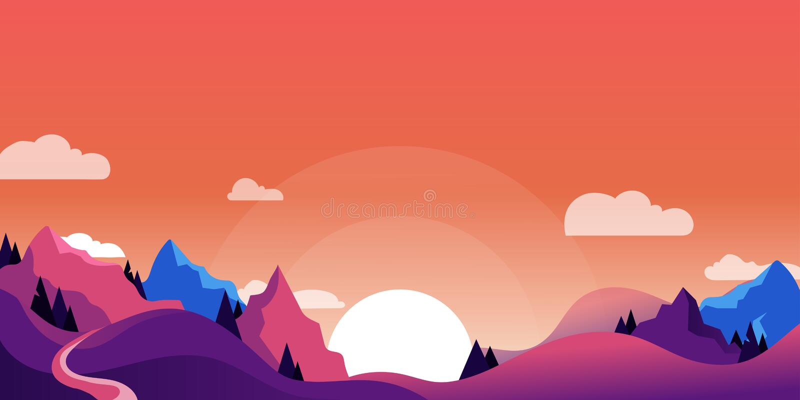 Mountains, hills landscape, horizontal nature background. Vector cartoon illustration of beautiful pink purple sunset vector illustration