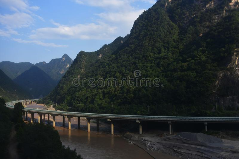 Qinling Mountains: scenery on the north south boundary of China. The mountains and hills are luxuriant and luxuriant. They have both the danger of Huashan and royalty free stock photography