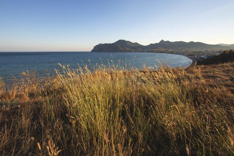 The Steppe over the sea stock image