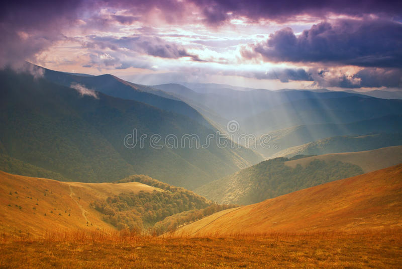 Download Mountains Hills And Sunbeams Stock Photo - Image: 20764514