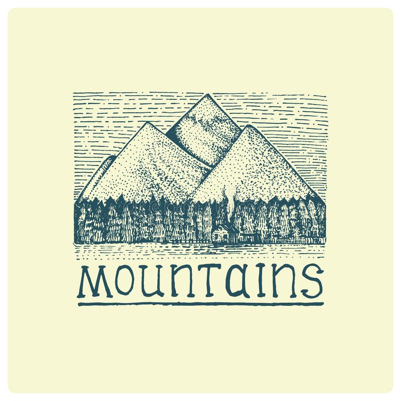 Mountains with house and forest engraved, hand drawn vector illustration in woodcut scratchboard style, vintage drawing vector illustration