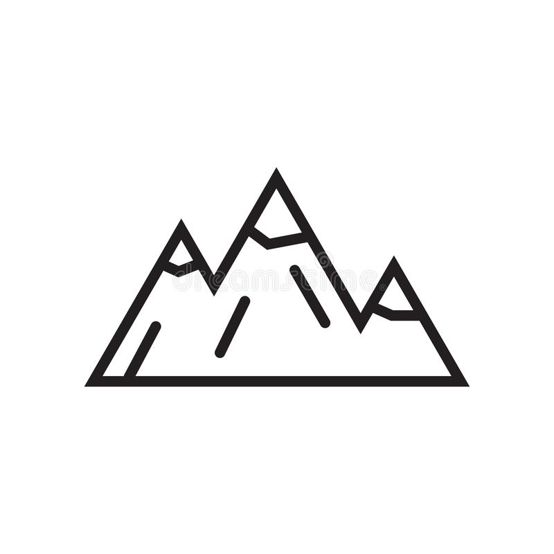 Mountains icon vector sign and symbol isolated on white background, Mountains logo concept. Mountains icon vector isolated on white background for your web and vector illustration
