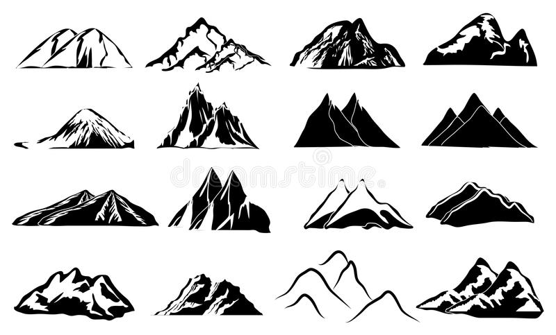 Mountains icons set. In black