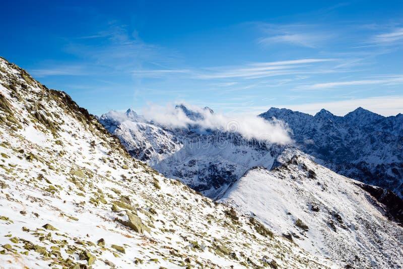 Mountains inspirational landscape view, sunny day in Tatra Mount. Ains. Mountain ridge over blue sunny sky, Poland stock photos