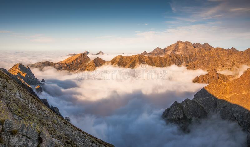 Mountains with Inversion at Sunset. As seen From Rysy Peak in High Tatras, Slovakia stock image