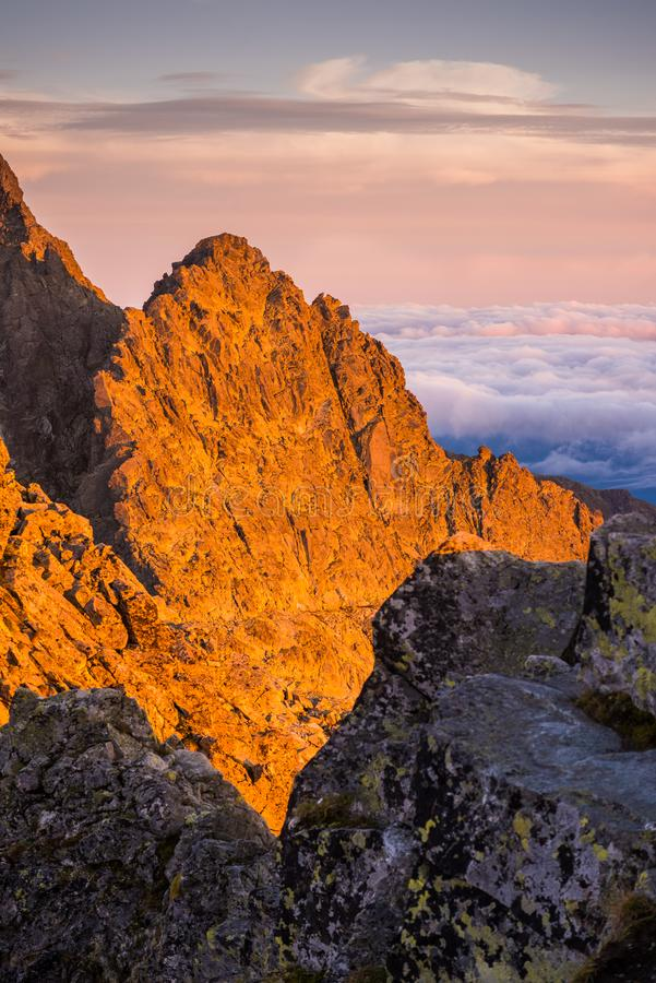 Mountains with Inversion at Sunset. Mountains Landscape with Inversion in the Valley at Sunset as seen From Rysy Peak in High Tatras, Slovakia royalty free stock images