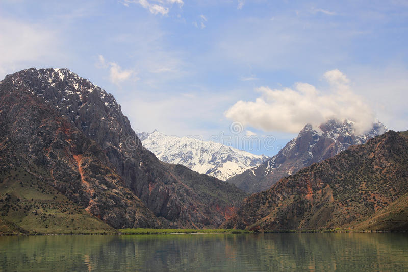The mountains and Iskanderkul lake, Tajikistan stock image