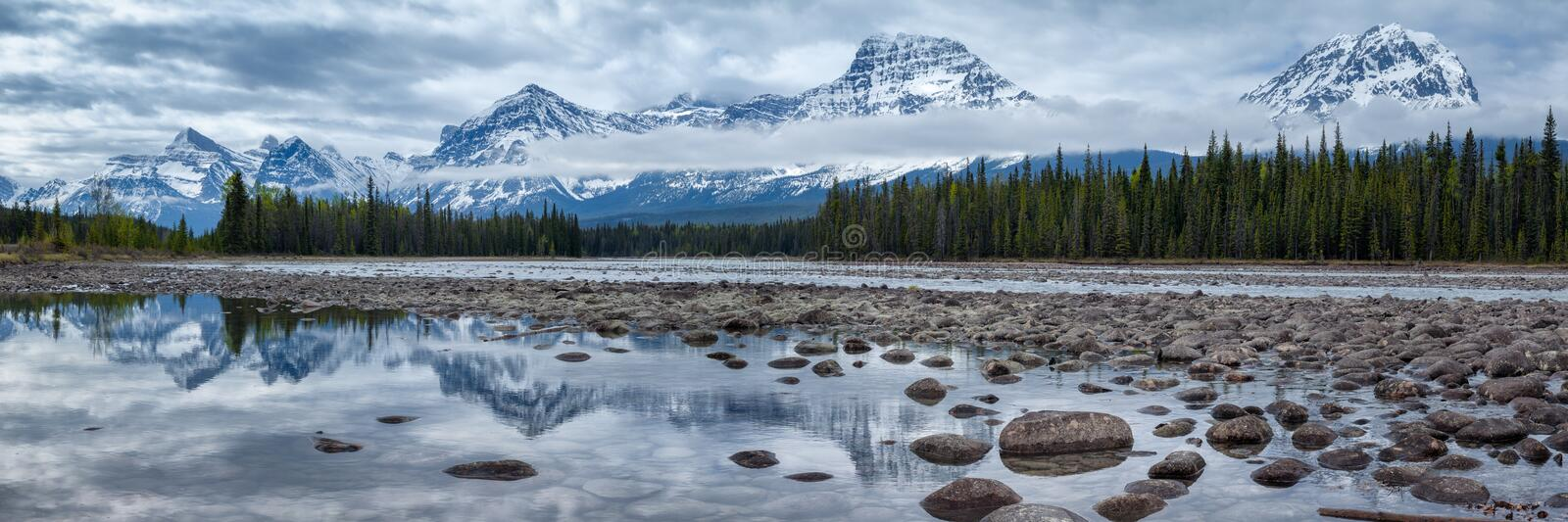 Mountains in Jasper National Park along the Athabasca River stock images