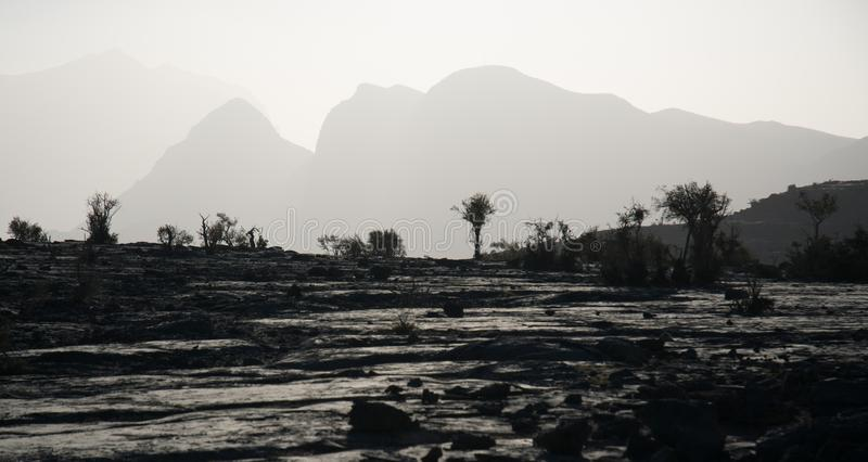 Lunar landscape in the Mountains of Jebel Shams in Oman royalty free stock images