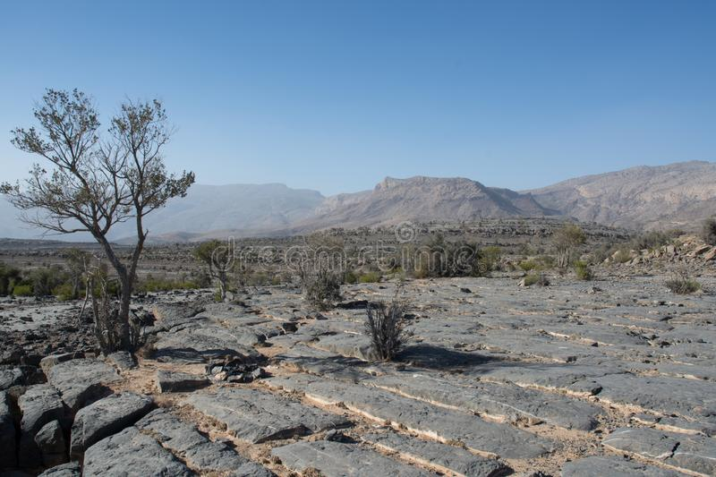 Lunar landscape in the Mountains of Jebel Shams in Oman stock photography