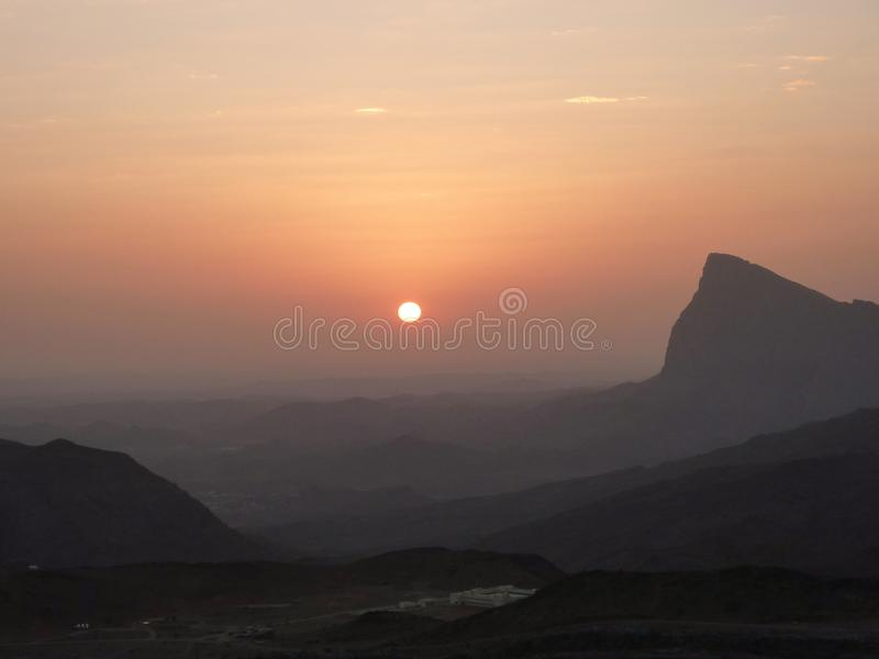 Sunset in the Mountains of Jebel Shams in Oman stock image