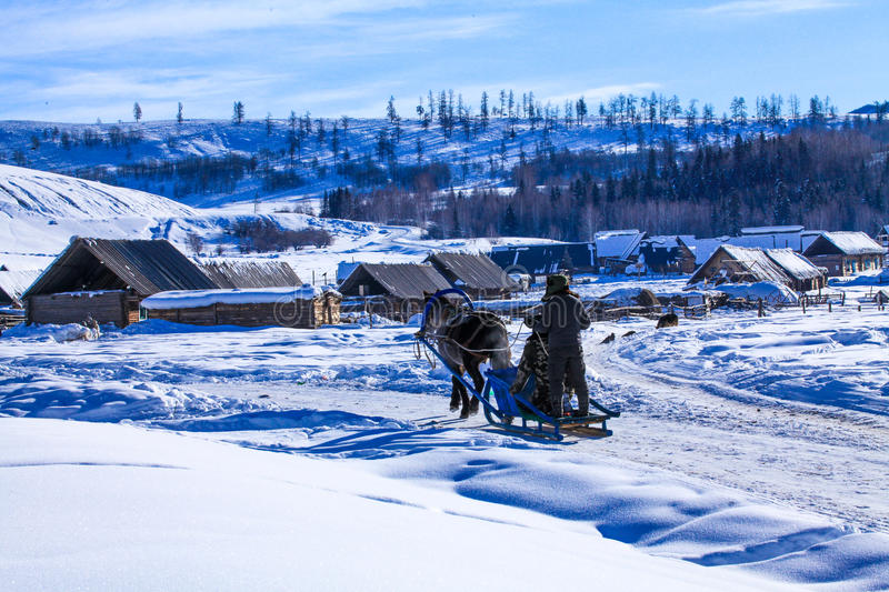 The mountains and Kazakh herdsmen home royalty free stock photography