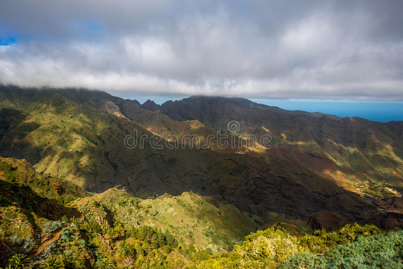 Mountains on La Gomera island. Beautiful landscape view on green mountains near Garajonay park on La Gomera island in Spain stock photos